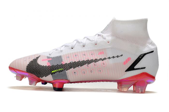 Kids Nike Mercurial Superfly 8 Elite FG - White Black Bright Crimson Pink Blast
