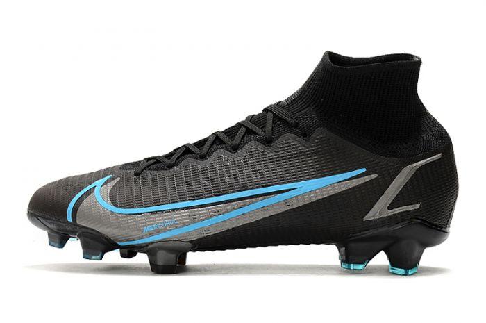 Kids Nike Mercurial Superfly 8 Elite FG Black Iron Grey University Blue